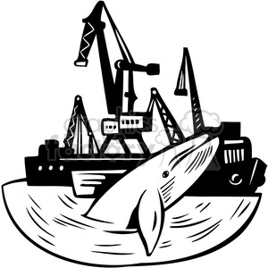 whales swimming by oil rigs clipart. Royalty-free image # 386115