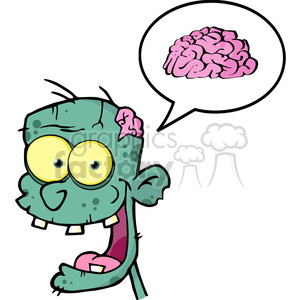 5074-Zombie-Head-Cartoon-Character-And-Speech-Bubble-With-Brain-Royalty-Free-RF-Clipart-Image clipart. Royalty-free image # 386244