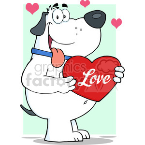 5244-Fat-White-Dog-Holding-Up-A-Red-Heart-Royalty-Free-RF-Clipart-Image clipart. Royalty-free image # 386264