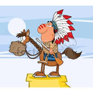 5133-Indian-Chief-With-Gun-On-Horse-Royalty-Free-RF-Clipart-Image clipart. Commercial use image # 386294