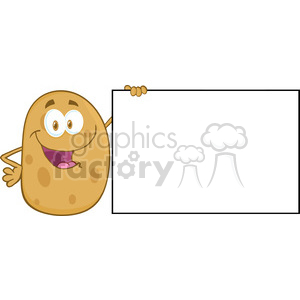 5178-Potato-Cartoon-Mascot-Character-Holding-A-Blank-Sign-Royalty-Free-RF-Clipart-Image clipart. Royalty-free image # 386354