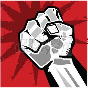 clenched fist on red background clipart. Royalty-free image # 386450