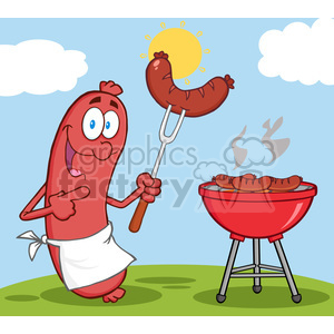 5367-Happy-Sausage-With-Sausage-On-Fork-And-Barbecue clipart. Commercial use image # 386470