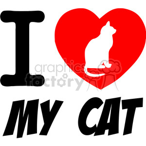 I Love My Cat Text With Red Heart clipart. Commercial use image # 386480