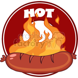 Grilled Sausage And Flames With Banner clipart. Commercial use image # 386510