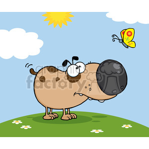 Cute Dog Cartoon Mascot Character With Butterfly On A Meadow clipart. Royalty-free image # 386520