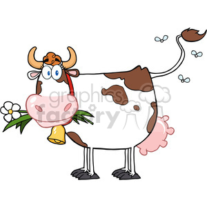 Dairy Cow With Flower In Mouth clipart. Commercial use image # 386540