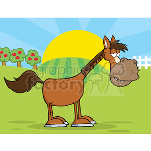 Horse Cartoon Mascot Character In Country Farm clipart. Royalty-free image # 386550