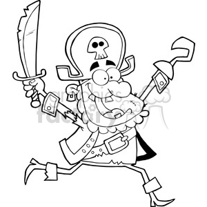 Running Pirate Holding Up A Sword And Hook clipart. Royalty-free image # 386570