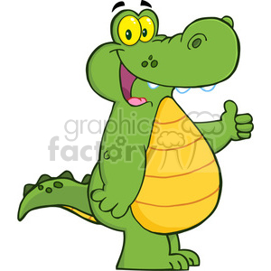 5336-Smiling-Aligator-Or-Crocodile-Showing-Thumbs-Up clipart. Royalty-free image # 386580