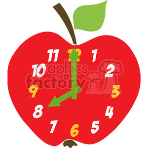 cartoon comic comical funny clock apple food time clock school
