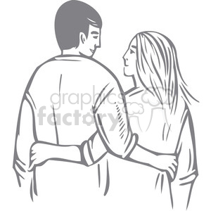 couple with arms around each other clipart. Royalty-free image # 386669