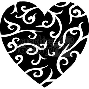 black stylized heart clipart. Commercial use image # 386699