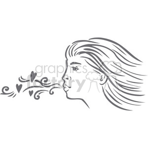 love Valentines hearts cartoon vector blow kisses kiss