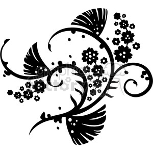 black+white swirl designs tattoo Chinese Asian floral organic vinyl+ready flowers