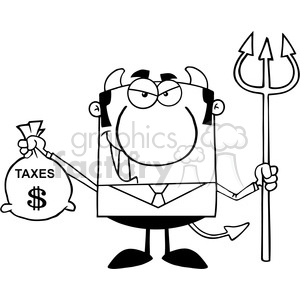 Clipart of Smiling Devil With A Trident And Holding Taxes Bag clipart. Royalty-free image # 386827