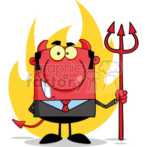 Clipart of Smiling Devil Boss With A Trident In Front Of Flames clipart. Royalty-free image # 386867
