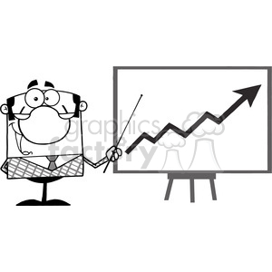 clipart of happy business manager with pointer presenting a progressive arrow