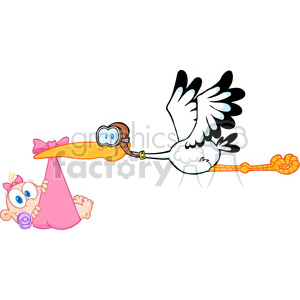 Royalty Free Stork Delivering A Newborn Baby Girl clipart. Royalty-free image # 386887