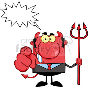 RF Smiling Devil Boss With A Trident And Hand Pointing Finger clipart. Royalty-free image # 386907