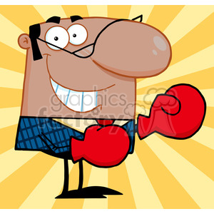 Royalty Free Smiling African American Business Manager With Boxing Gloves clipart. Royalty-free image # 386917