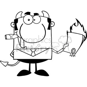 Clipart of Devil Boss Holding A Flaming Bad Contract In His Hand clipart. Commercial use image # 386937