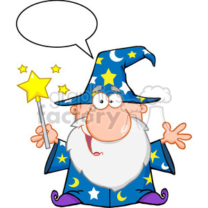 Clipart of Funny Wizard Waving With Magic Wand And Speech Bubble clipart. Royalty-free image # 386947