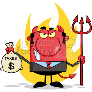 RF Smiling Devil With A Trident And Holding Taxes Bag clipart. Commercial use image # 386977