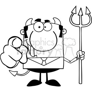 Clipart of Smiling Devil Boss With A Trident And Hand Pointing Finger clipart. Royalty-free image # 386987