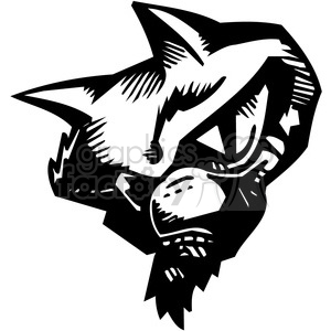 vinyl-ready black+white tattoo design animals creatures agressive wild cat head mad