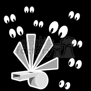 whistle blowing with eyes watching gray clipart. Commercial use image # 387158