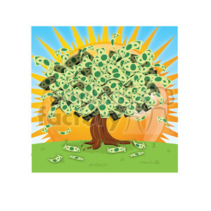 vector cartoon money growing on tree on a sunny day