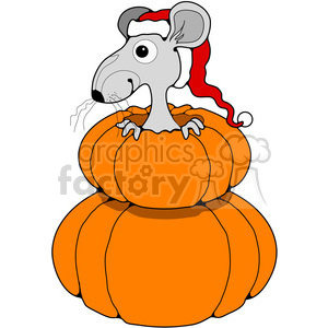 Mouse in Double Pumpkin in color clipart. Royalty-free image # 387208