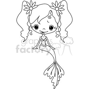 cartoon cute vector clipart clip+art mermaid girl female fiction fantasy character mermaids