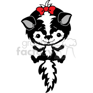 Skunk with red bow clipart. Royalty-free image # 387268