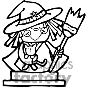 Witch with Cat clipart. Commercial use image # 387383