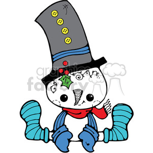 Snowman Sitting in color clipart. Royalty-free image # 387579
