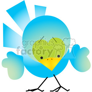 Bird 01 BLUE clipart. Royalty-free image # 387589