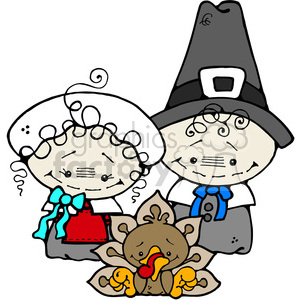 Pilgrim Couple and Turkey in color clipart. Royalty-free image # 387618