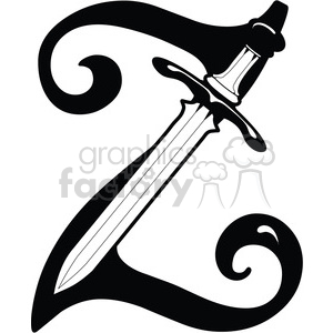 Letter Z Sword clipart. Royalty-free image # 387755