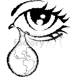 vector eye illustration with world in a tear