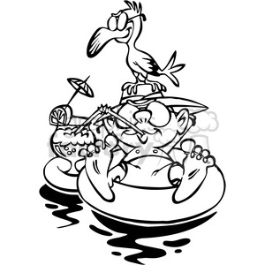cartoon guy floating on rubber tube vacation black and white clipart. Commercial use image # 387844