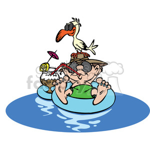 cartoon guy floating on rubber tube vacation clipart. Commercial use image # 387854