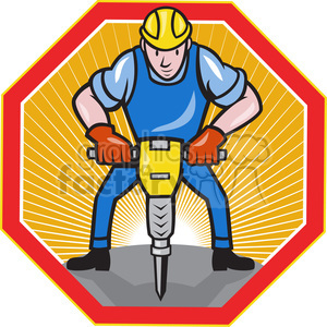 construction worker jackhammer front HEXA clipart. Royalty-free image # 387868