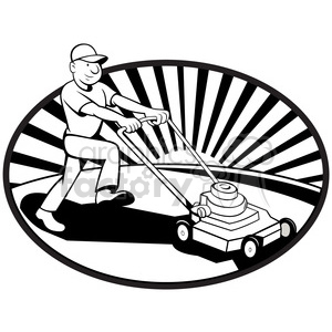 black and white mower mowing lawn side clipart. Royalty-free image # 387878