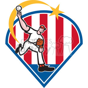 cartoon retro illustration baseball baseball+player pitcher pitching