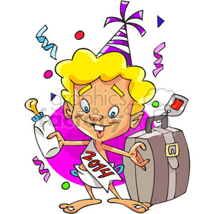 2014 baby new year with suitcase clipart. Commercial use image # 387930
