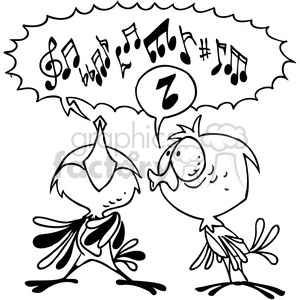 cartoon illustration funny comic comical birds singing black+white