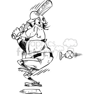 Black White Cartoon Baseball Player At Bat Cartoon Clipart