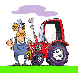 cartoon farmer with his tractor clipart. Royalty-free image # 388063